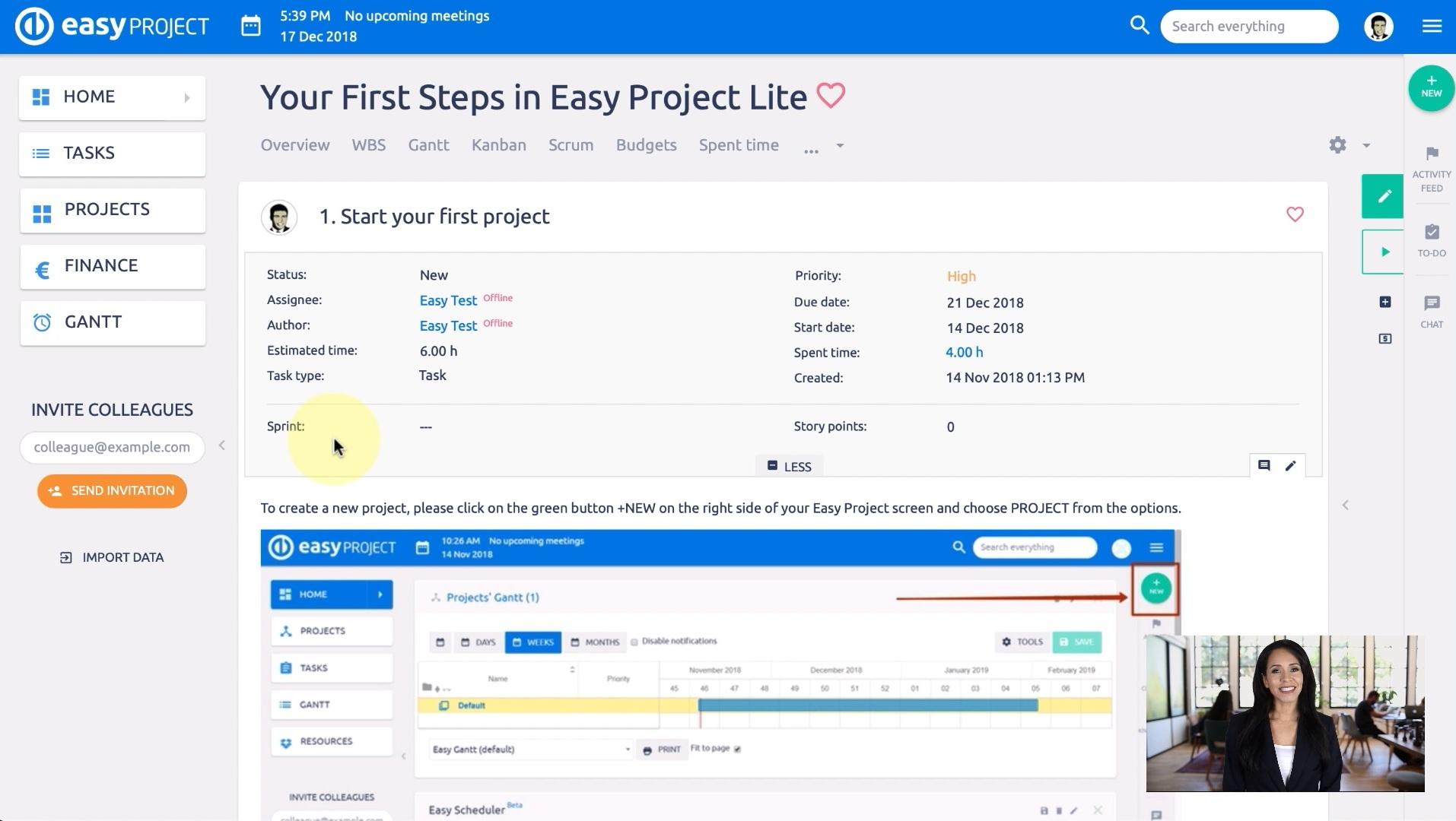 Easy Project 10 Lite - İlk projenizi başlatın