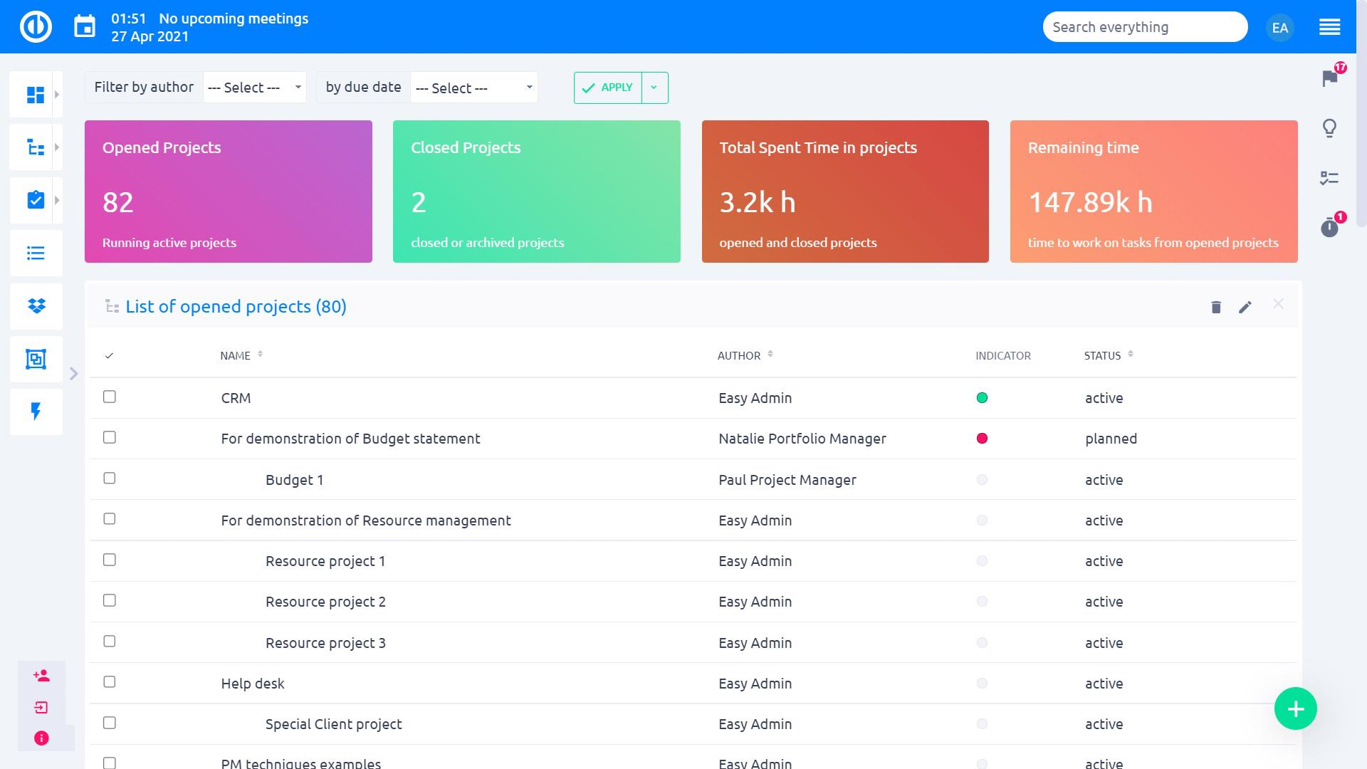 Easy Project – Project Dashboard