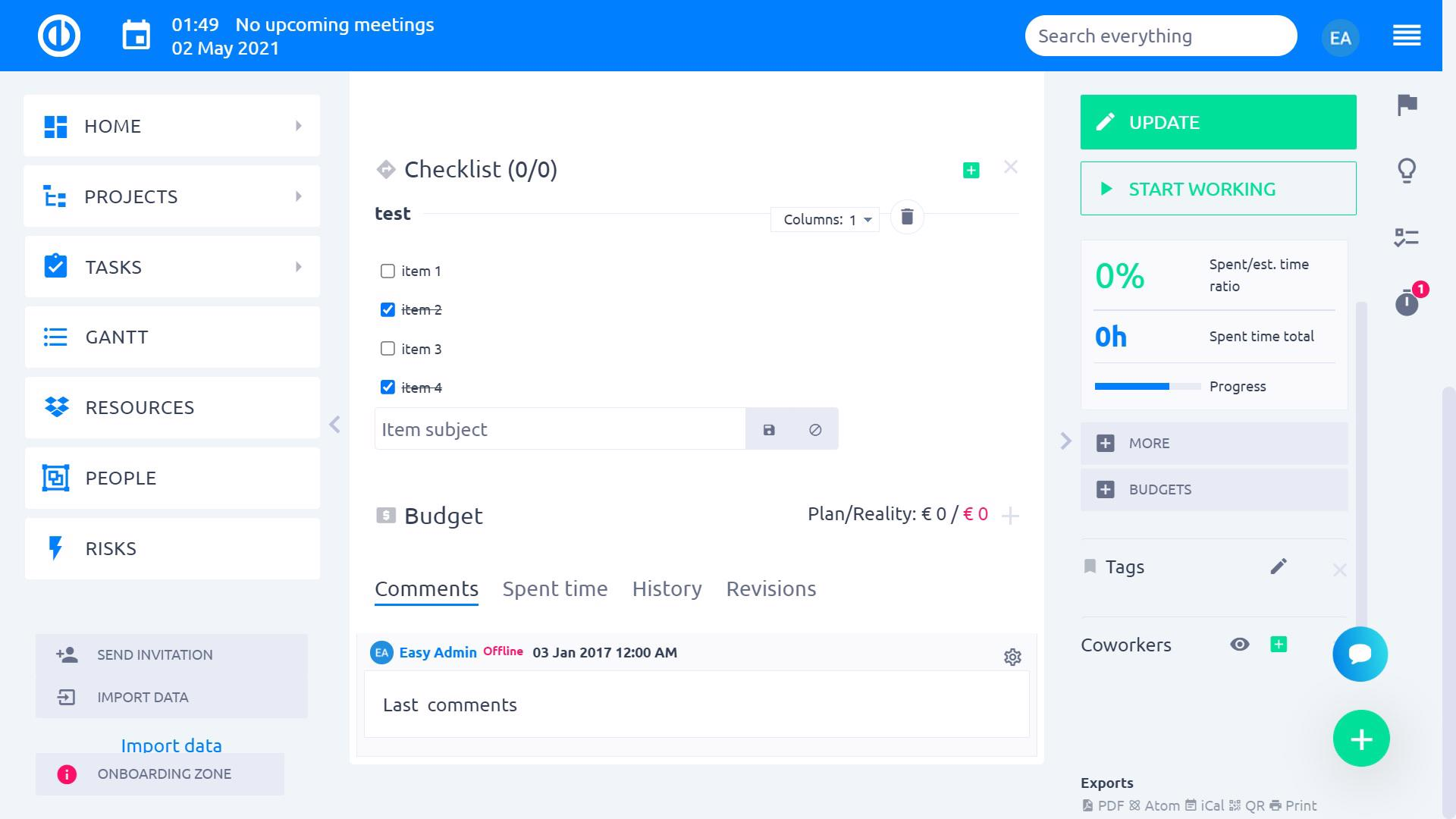 Easy Project – Checklists