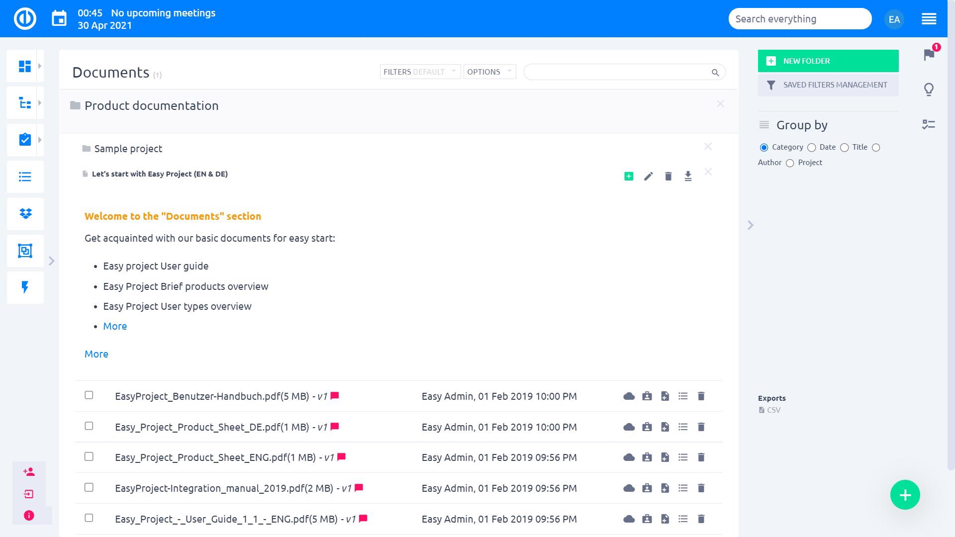 Easy Project – Project Documents