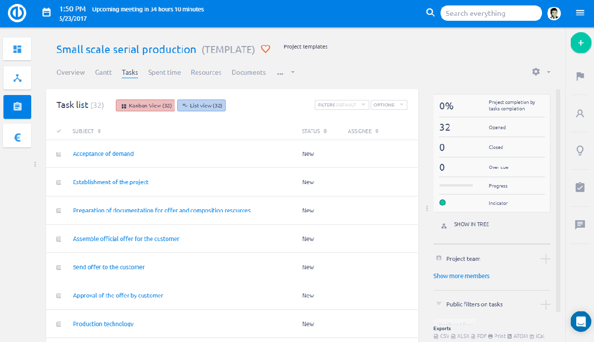 Easy Project – Production Templates