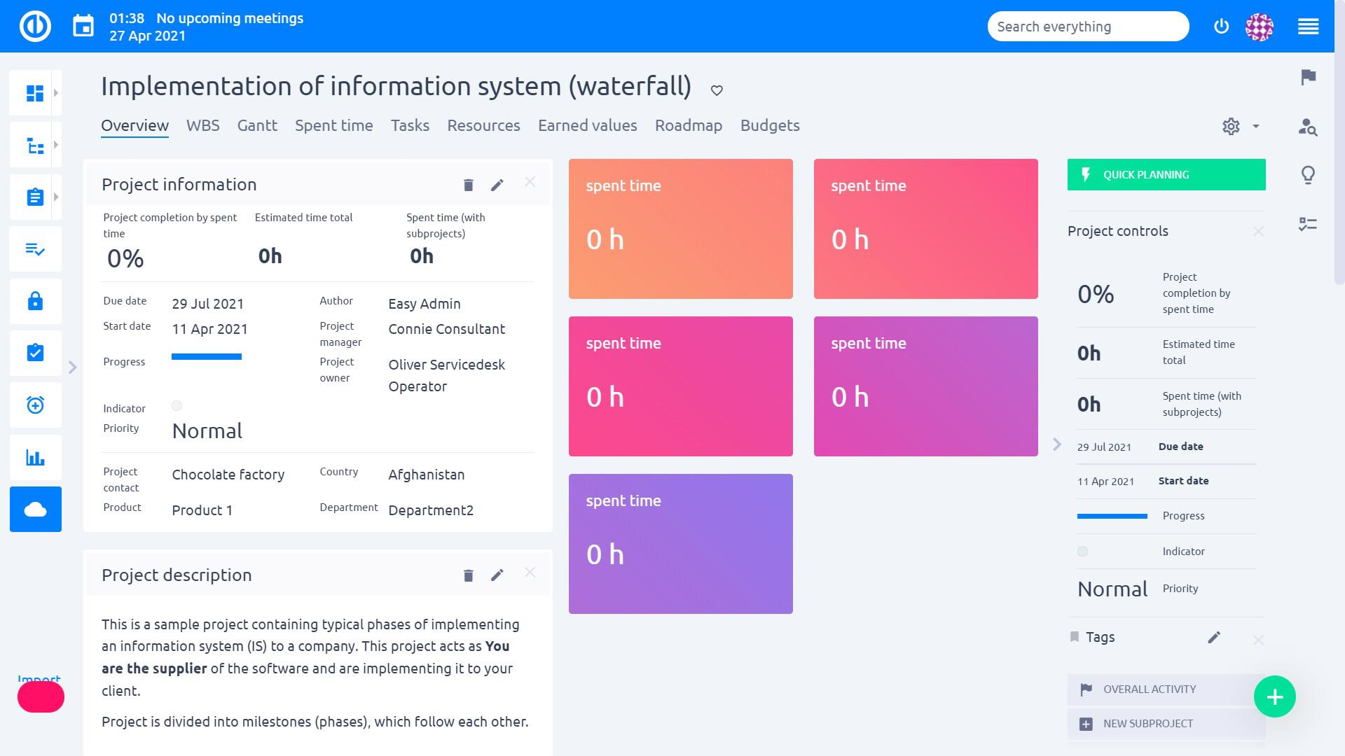 Easy Project – Project Team Member Dashboard