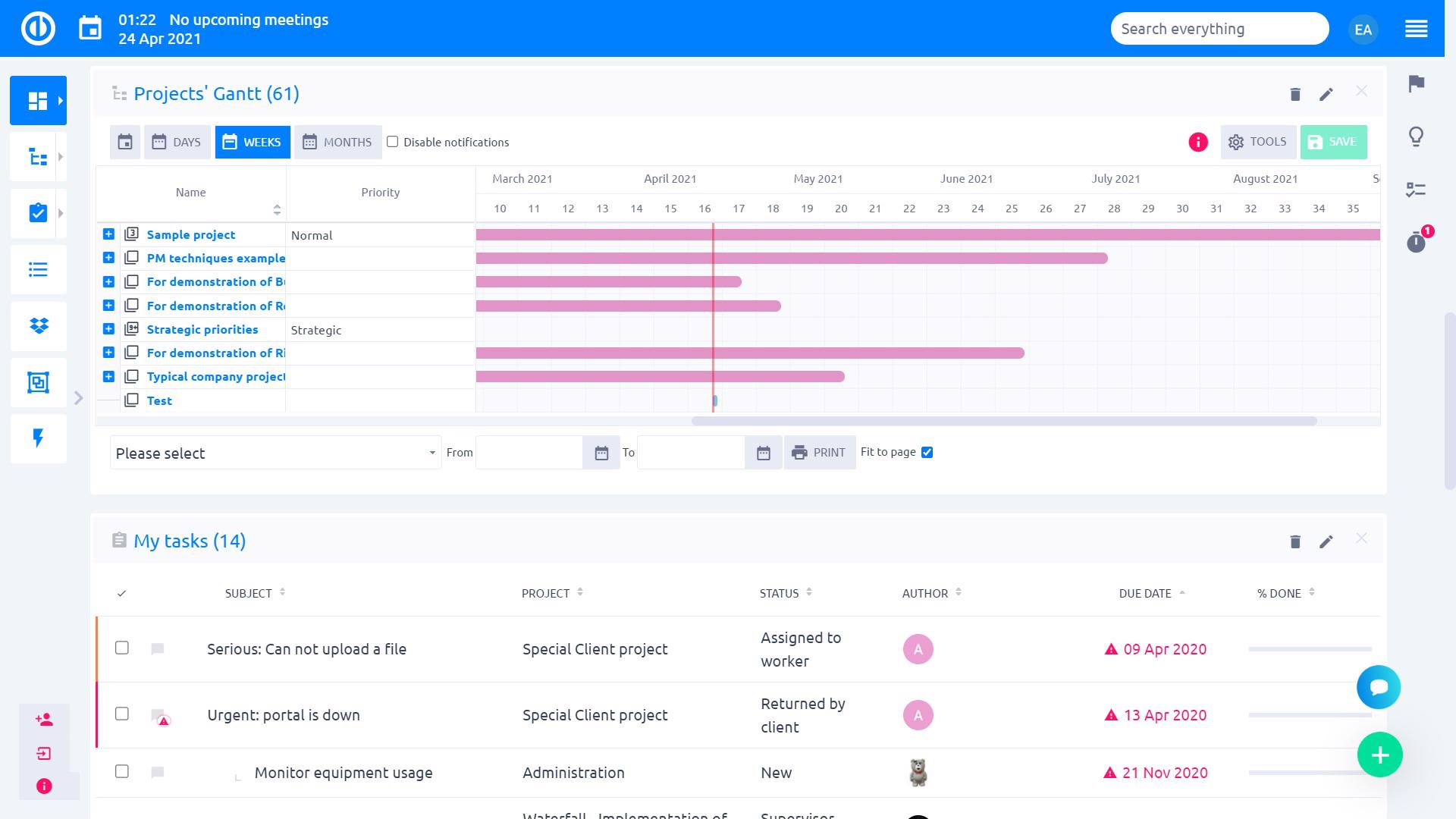 Easy Project – Portfolio Manager Dashboard